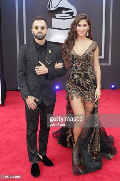 Mike Bahía and Greeicy Rendón attend the 20th annual Latin GRAMMY Awards at MGM Grand Garden Arena on November 14, 2019 in Las Vegas, Nevada.