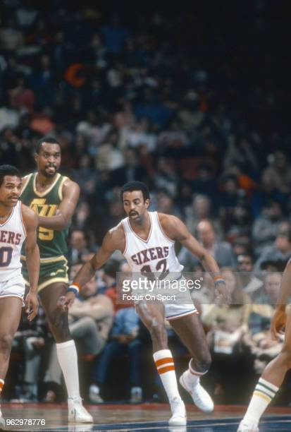 Mike Bantom of the Philadelphia 76ers in action against the Utah Jazz during an NBA basketball game circa 1982 at The Spectrum in Philadelphia...