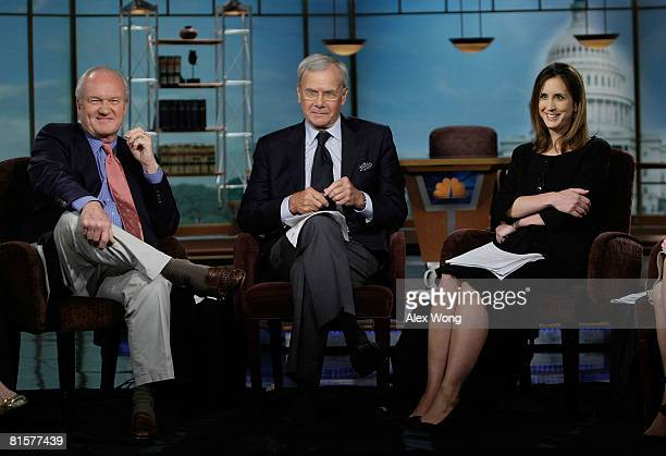 Mike Barnicle of MSNBC News former NBC Nightly News anchor Tom Brokaw and MTP Executive Producer Betsy Fischer appear on 'Meet the Press' during a...