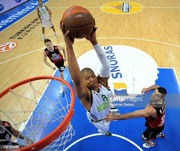 Mike Batiste, #8 of Panathinaikos Athens in action against Cemal Nalga, #25 of Lietuvos Rytas during the 2010-2011 Turkish Airlines Euroleague Top 16...