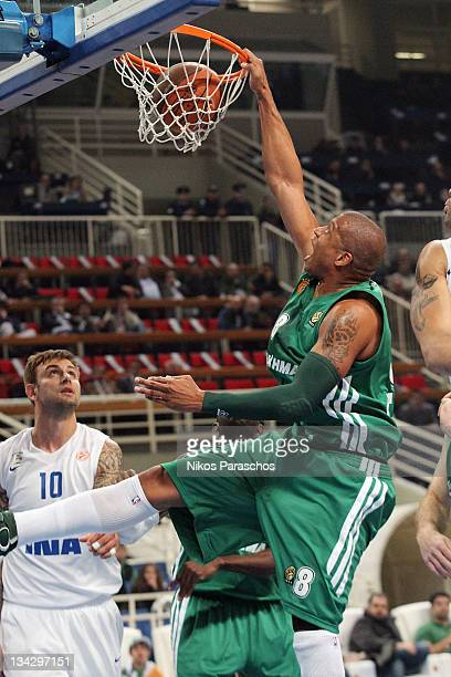 Mike Batiste, #8 of Panathinaikos Athens slam dunks during the 2011-2012 Turkish Airlines Euroleague Regular Season Game Day 7 between Panathinaikos...