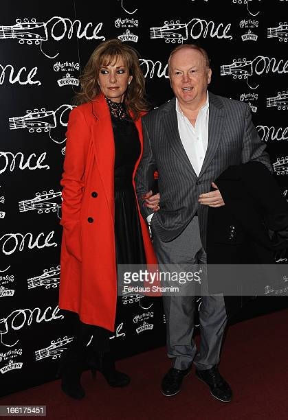 Mike Batt and his wife Julianne White attend the press night for new musical 'Once' at Phoenix Theatre on April 9 2013 in London England