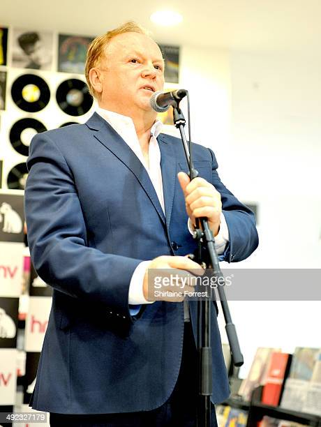 Mike Batt introduces Bob Blakeley performing and signing copies of his debut album 'Performance' at HMV Manchester on May 19 2014 in Manchester...