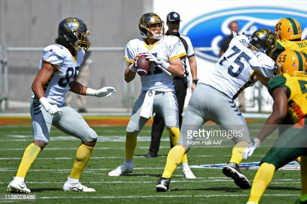 Mike Bercovici of the San Diego Fleet attempts a pass against the Arizona Hotshots during the first half of the Alliance of American Football game at...