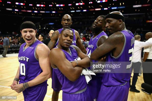 Mike Bibby #10 Ricky Davis Marcus Banks and Joe Smith and Ivan Johnson of Ghost Ballers reacts after defeating 3 Headed Monsters during week eight of...