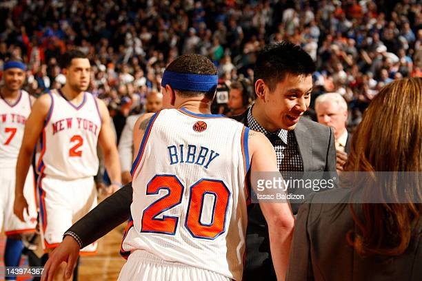 Mike Bibby is congratulated by teammate Jeremy Lin of the New York Knicks after defeating the Miami Heat in Game Four of the Eastern Conference...