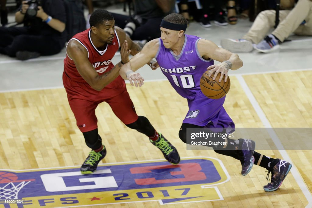 Mike Bibby #10 of Ghost Ballers handles the ball against James White #8 of Trilogy in week nine of the BIG3 three-on-three basketball league at KeyArena on August 20, 2017 in Seattle, Washington.