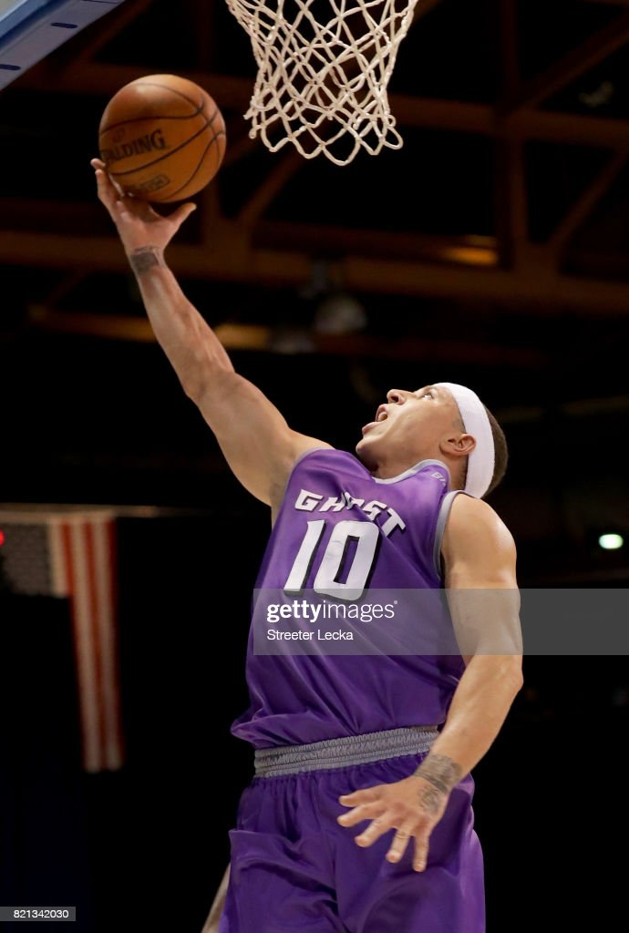 Mike Bibby #10 of the Ghost Ballers attempts a shot against the Killer 3s during week five of the BIG3 three on three basketball league at UIC Pavilion on July 23, 2017 in Chicago, Illinois.