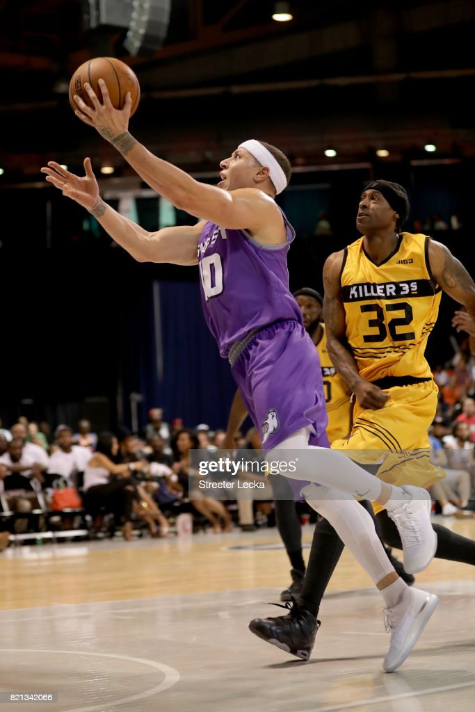 Mike Bibby #10 of the Ghost Ballers attempts a shot past Eddie Robinson #32 of the Killer 3s during week five of the BIG3 three on three basketball league at UIC Pavilion on July 23, 2017 in Chicago, Illinois.
