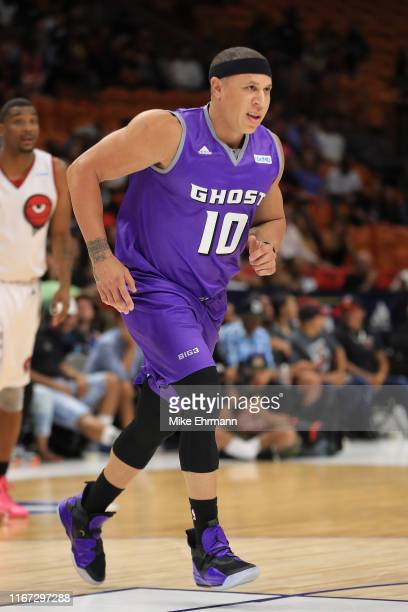 Mike Bibby of the Ghost Ballers in action against Trilogy during week eight of the BIG3 three on three basketball league at AmericanAirlines Arena on...