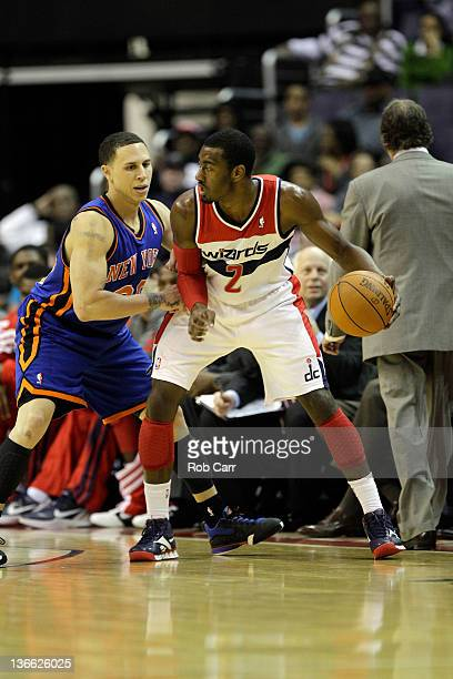 Mike Bibby of the New York Knicks guards John Wall of the Washington Wizards at Verizon Center on January 6 2012 in Washington DC NOTE TO USER User...