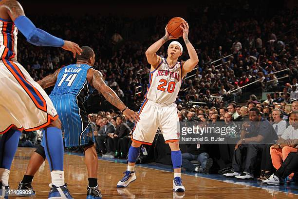 Mike Bibby of the New York Knicks looks to pass the ball against the Orlando Magic on March 28 2012 at Madison Square Garden in New York City NOTE TO...