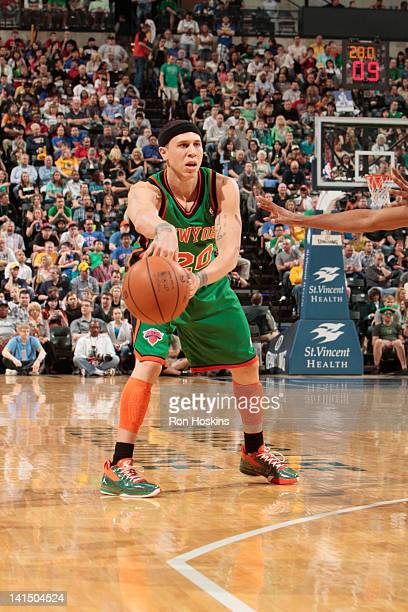 Mike Bibby of the New York Knicks protects the ball during the game between the Indiana Pacers and the New York Knicks on March 17 2012 at Bankers...