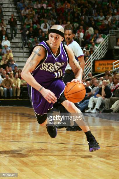 Mike Bibby of the Sacramento Kings drives against the Utah Jazz during the game on April 18 2005 at the Delta Center in Salt Lake City Utah The Jazz...