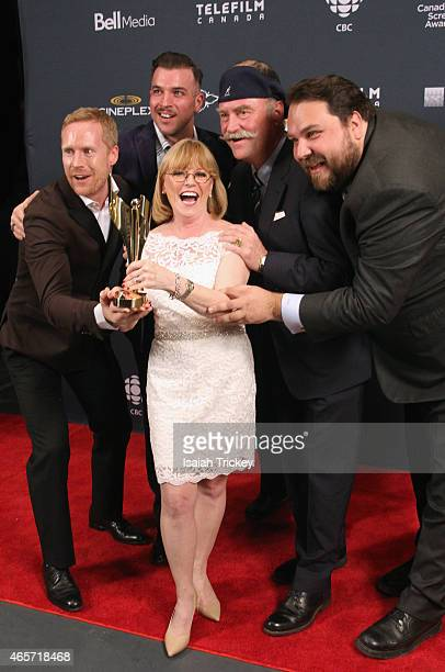 Mike Bickerton Eric Abboud Barbara Bowlby John Brunton and Mark Lysakowski pose in the press room at the 2015 Canadian Screen Awards at the Four...