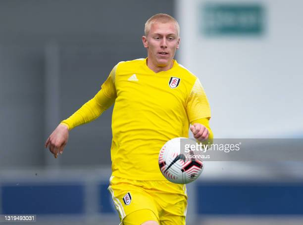Mike Biereth of Fulham during the U18 Premier League match between Manchester City and Fulham at The Academy Stadium on May 22, 2021 in Manchester,...