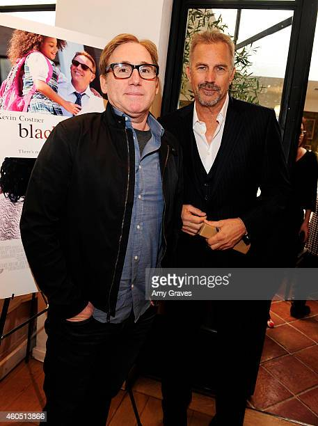 Mike Binder and Kevin Costner attend a special luncheon for Kevin Costner and Mike Binder hosted by Colleen Camp for the film BLACK OR WHITE at Fig...