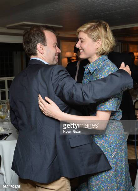 Mike Birbiglia and Greta Gerwig attend the Screenwriters Tribute at the 2018 Nantucket Film Festival Day 4 on June 23 2018 in Nantucket Massachusetts