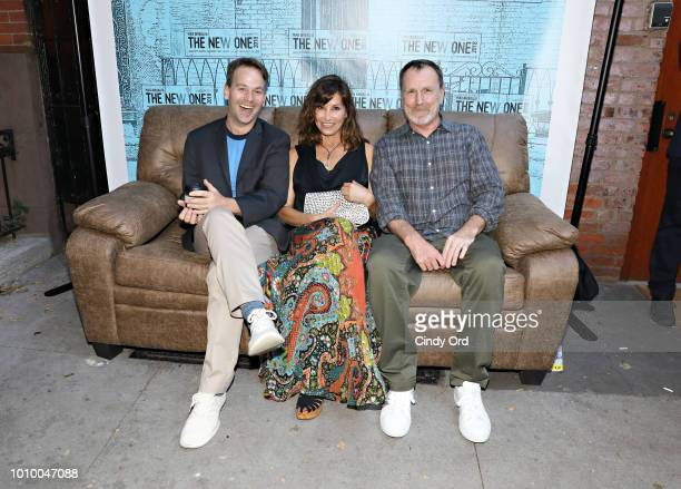 Mike Birbiglia Gina Gershon and Colin Quinn attend the opening night of Mike Birbiglia The New One at the Cherry Lane Theatre on August 2 2018 in New...
