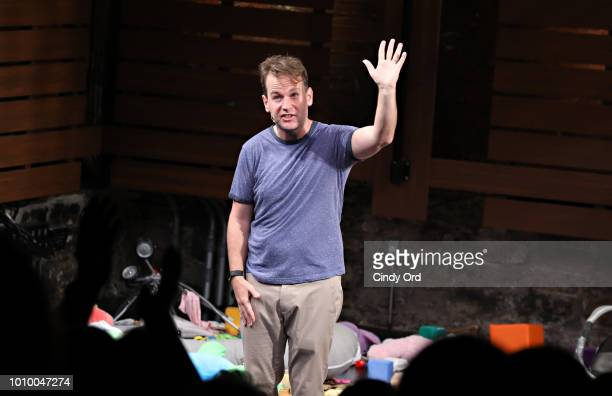 Mike Birbiglia takes part in the curtain call during the opening night of Mike Birbiglia The New One at the Cherry Lane Theatre on August 2 2018 in...
