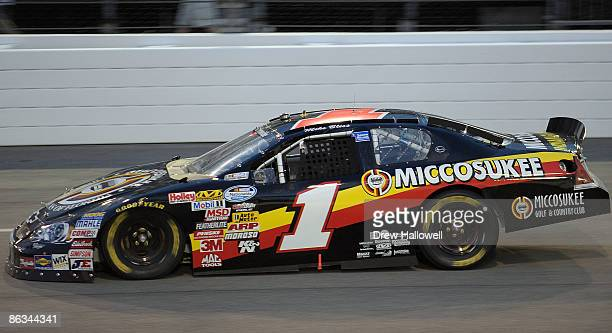Mike Bliss driver of the Miccosukee Indian Gaming Resort Chevrolet drives during the NASCAR Nationwide Series Lipton Tea 250 at Richmond...