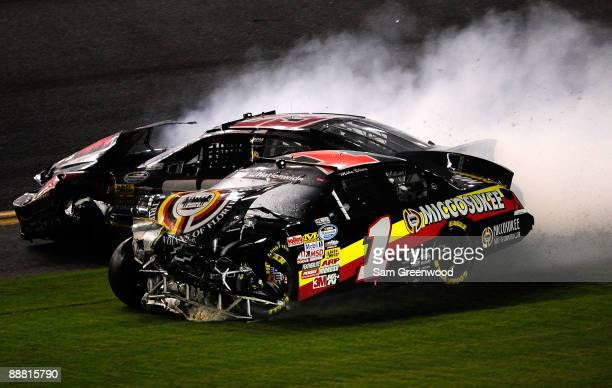 Mike Bliss driver of the Miccosukee Indian Gaming Resorts Chevrolet crashes during the NASCAR Nationwide Series Subway Jalapeno 250 at Daytona...