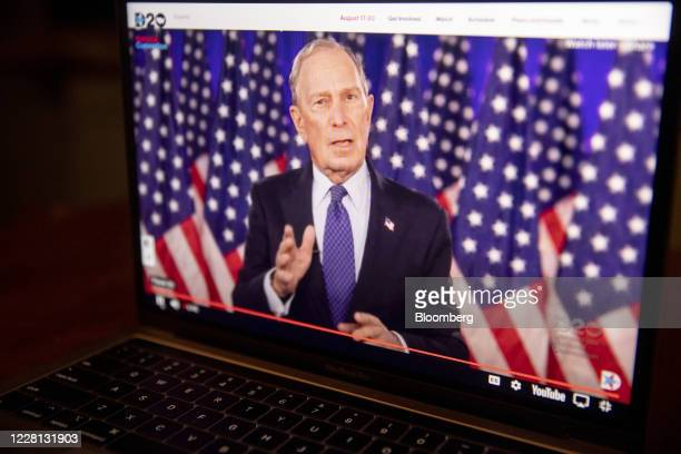 Mike Bloomberg, founder of Bloomberg LP, speaks during the virtual Democratic National Convention seen on a laptop computer in Tiskilwa, Illinois,...