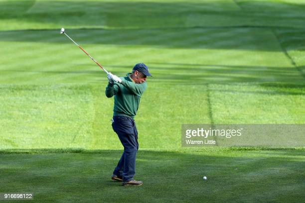 Mike Bloomberg plays his shot from the 11th tee during Round Three of the ATT Pebble Beach ProAm at Spyglass Hill Golf Course on February 10 2018 in...