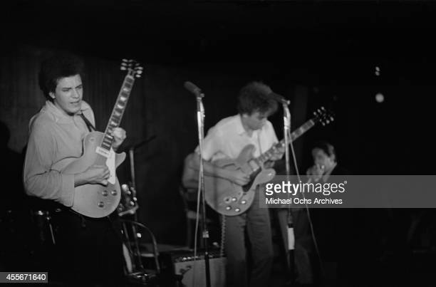 Mike Bloomfield Elvin Bishop and Paul Butterfield of the Butterfield Blues Band perform circa 1966 in New York City New York