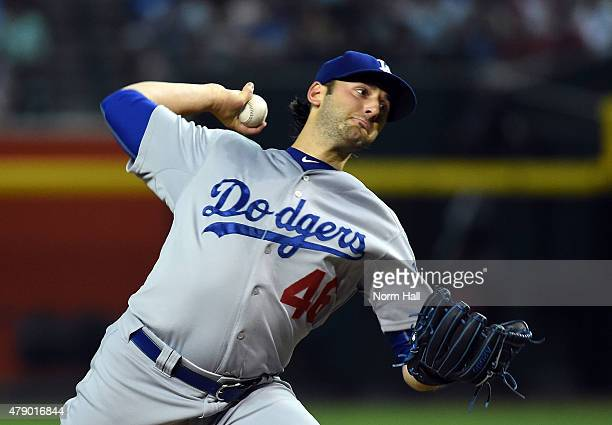 Mike Bolsinger of the Los Angeles Dodgers delivers a first inning pitch against the Arizona Diamondbacks at Chase Field on June 29 2015 in Phoenix...