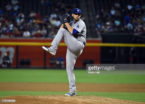 Mike Bolsinger of the Los Angeles Dodgers delivers a pitch against the Arizona Diamondbacks at Chase Field on June 29 2015 in Phoenix Arizona