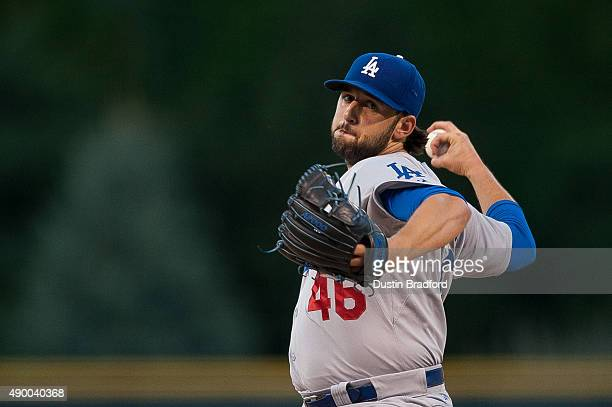 Mike Bolsinger of the Los Angeles Dodgers pitches against the Colorado Rockies in the first inning of a game at Coors Field on September 6 2015 in...