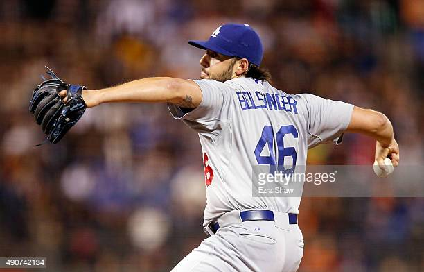 Mike Bolsinger of the Los Angeles Dodgers pitches against the San Francisco Giants in the first inning at ATT Park on September 30 2015 in San...