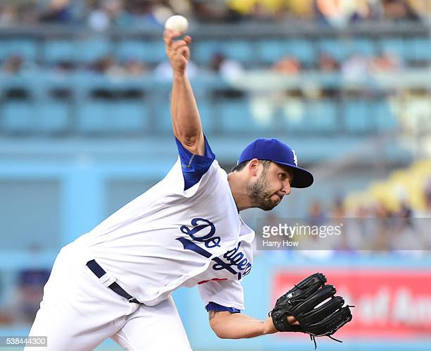 Mike Bolsinger of the Los Angeles Dodgers pitches during the first inning against the Colorado Rockies at Dodger Stadium on June 6 2016 in Los...