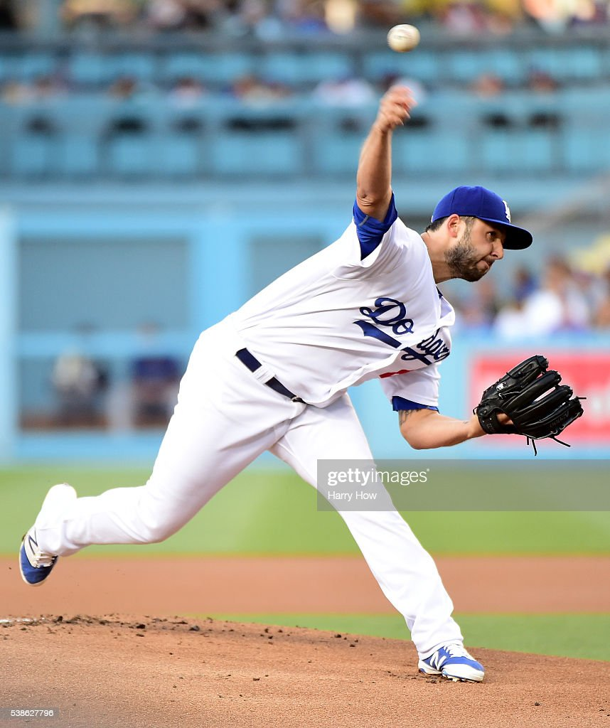 Mike Bolsinger #46 of the Los Angeles Dodgers pitches during the first inning against the Colorado Rockies at Dodger Stadium on June 6, 2016 in Los Angeles, California.