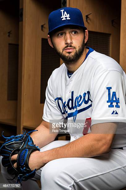 Mike Bolsinger of the Los Angeles Dodgers poses for a portrait during spring training photo day at Camelback Ranch on February 28 2015 in Glendale...
