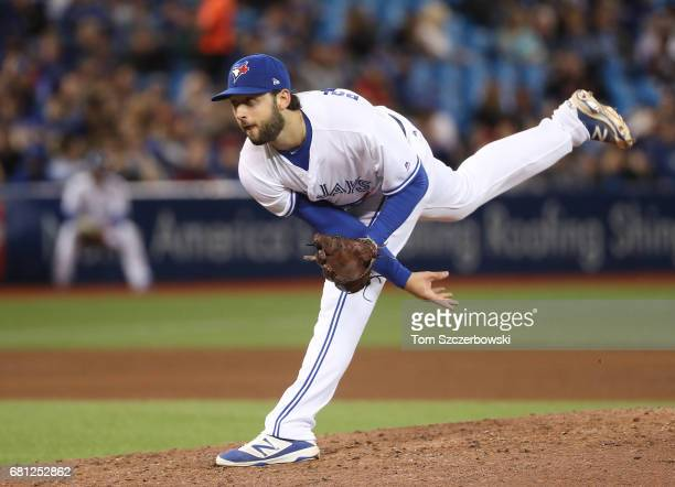 Mike Bolsinger of the Toronto Blue Jays delivers a pitch in the fifth inning during MLB game action against the Cleveland Indians at Rogers Centre on...