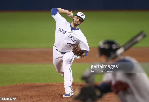Mike Bolsinger of the Toronto Blue Jays delivers a pitch in the first inning during MLB game action against the Atlanta Braves at Rogers Centre on...