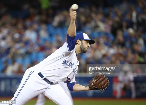Mike Bolsinger of the Toronto Blue Jays delivers a pitch in the first inning during MLB game action against the Texas Rangers at Rogers Centre on May...