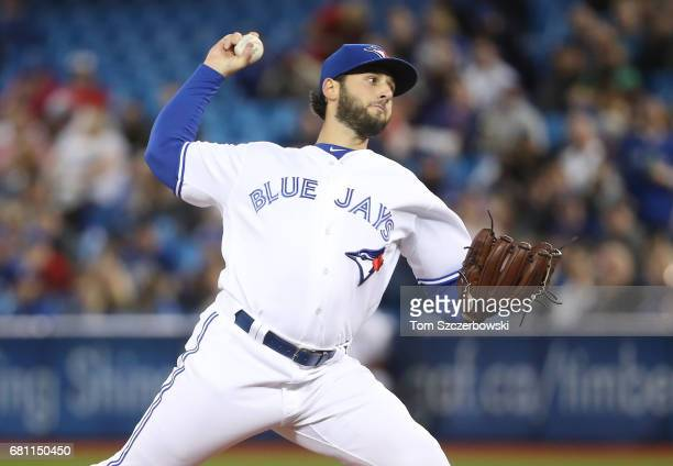 Mike Bolsinger of the Toronto Blue Jays delivers a pitch in the second inning during MLB game action against the Cleveland Indians at Rogers Centre...