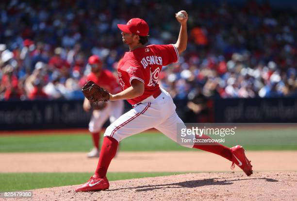 Mike Bolsinger of the Toronto Blue Jays delivers a pitch in the fourth inning during MLB game action against the Los Angeles Angels of Anaheim at...