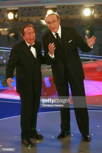 Mike Bongiorno and Pippo Baudo attend on stage during the last day of the 57th Sanremo Music Festival at Teatro Ariston on March 3 2007 in Sanemo...