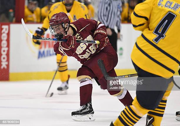 Mike Booth of the Boston College Eagles takes a shot on goal in the second period during game one of the Three Rivers Classic hockey tournament at...