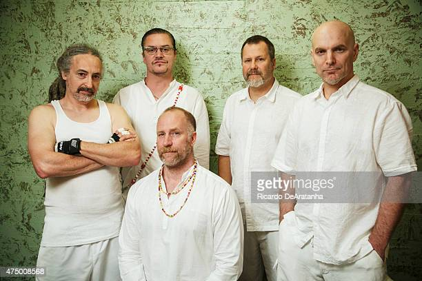 Mike Bordin Mike Patton Roddy Bottum Billy Gould and Jon Hudson of Band Faith No More are photographed for Los Angeles Times on April 23 2015 in Los...