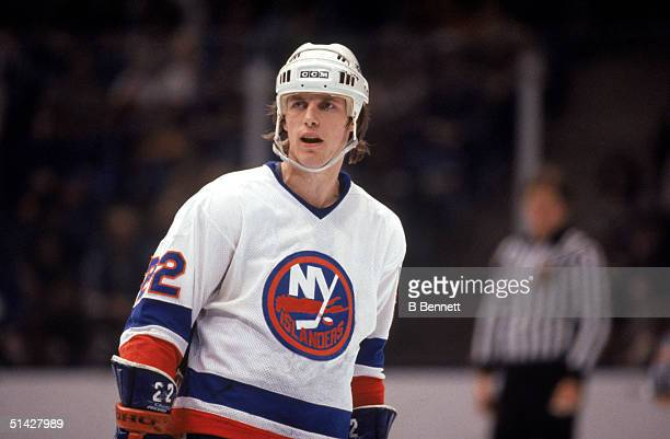 Mike Bossy of the New York Islanders skates during a game in 1984 at Nassau Veterans Memorial Coliseum in Uniondale, New York. Mike Bossy played for...