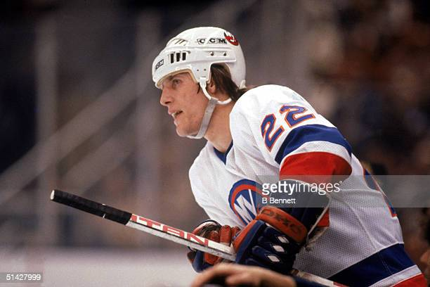 Mike Bossy of the New York Islanders skates during a game in 1985 at Nassau Veterans Memorial Coliseum in Uniondale New York Mike Bossy played for...