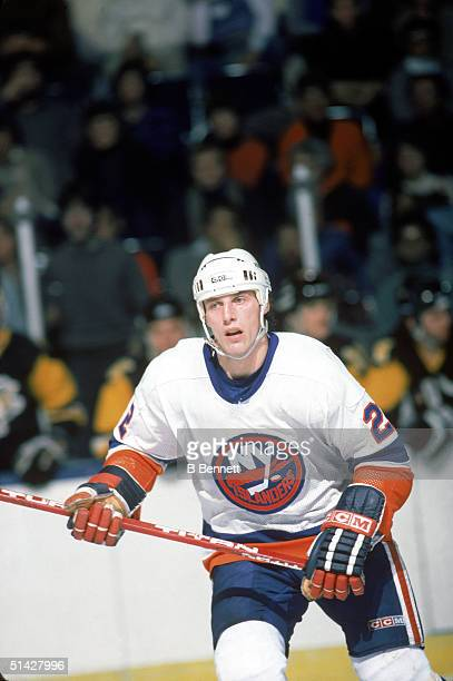 Mike Bossy of the New York Islanders skates during a game in February of 1985 at Nassau Veterans Memorial Coliseum in Uniondale New York Mike Bossy...
