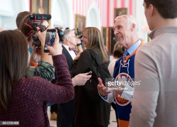 Mike Bossy speaks to the media during the Stanley Cup Homecoming as part of the Stanley Cups 125th anniversary celebrations on March 16 2017 in...