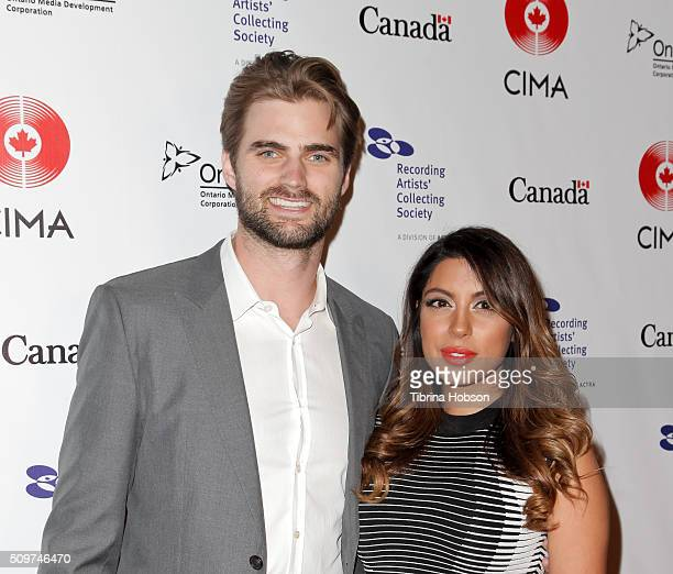 Mike Bradwell and Aliya Jasmine Sovani attend Canada's Grammy Night at Raleigh Studios on February 11 2016 in Los Angeles California