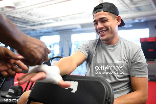 Mike Breeden has his hands wrapped prior to his fight during week four of Dana White's Contender Series season four at UFC APEX on August 25 2020 in...